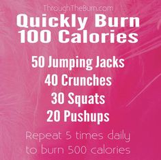 How to burn 100 calories quickly