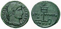 Monnaie de Constantin d'environ 337, le chrisme surmonte l'étendard impérial (le labarum)