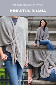 FREE Tunisian crochet pattern The Kingston Ruana is a lightweight shawl or ruana with gorgeous drape and a side strap for easy closure onedogwoof freecrochetpattern tunisiancrochetpattern crochetruanapattern
