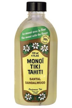 """Monoi Tiki Tahiti Santal Sandalwood Coconut Oil""""An all-in-one moisturizer that is basically a vacation in a bottle!"""" #refinery29 http://www.refinery29.com/expensive-beauty-products-editor-picks#slide-22"""