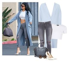 """""""Get the look..Kylie Jenner in ASOS ice blue duster coat..."""" by maria-haretaki ❤ liked on Polyvore featuring ASOS, Topshop, J Brand, Givenchy, STELLA McCARTNEY and Gianvito Rossi"""