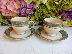 2 Beautiful Lenox Porcelain Cups & Saucers ~ Autumn ~ Enamel Fruit ~ Scrolls #Lenox