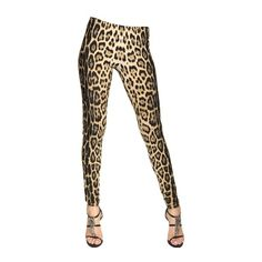 ROBERTO CAVALLI GYM Leopard Printed Lycra Leggings ($282) ❤ liked on Polyvore