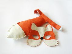 Fox Cub Kids Costume Dress up Tail and Mask by BHBKidstyle