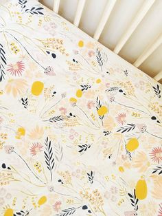 Hey, I found this really awesome Etsy listing at https://www.etsy.com/listing/466272313/beautiful-floral-crib-sheet-goldenv