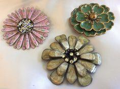 Lot of 3 Vintage Enamel on Metal Crystal Flower Pink Green Pin Brooch | eBay