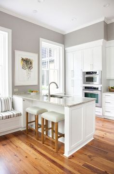 white and grey kitchen! Small kitchen remodel with white cabinets and island Kitchen Redo, New Kitchen, Kitchen Remodel, Kitchen Layout, Kitchen Island In Small Space, Kitchen Living, Kitchen Ideas For Small Spaces Design, Islands For Small Kitchens, Kitchen Without Island