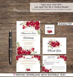 Red Wedding Invitation Template Boho Chic Wedding by BigDayPrints