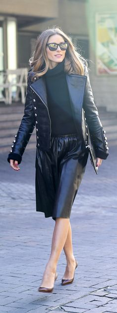 Black leather skirt + double breasted leather jacket + black turtleneck jumper