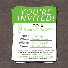 Herbalife Shake Party Invitation!!!! | Herbalife ...