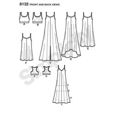 Flared tank dress for miss with center front seam can be made in maxi length, long with high low, knee length, or mini length, includes racer back knit bralette with optional stretch lace overlay.