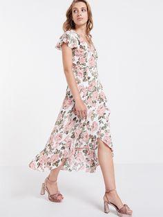 Cream Arden #Rose Frill Hem Wrap Midi #Dress