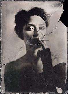 Smoking Alice by Maciek Leśniak / wet plate collodion Portrait Tv Movie, Wet Plate Collodion, Broken Mirror, Broken Glass, Up In Smoke, Women Smoking, Le Smoking, Looks Cool, Photos