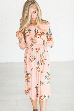 Floral Blooms Dress - Blush (ships 2/28)