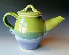 Pottery Teapot / Handmade Wheel Thrown Pottery Ceramic Clay / Lavender Blue and Green. $75.00, via Etsy.
