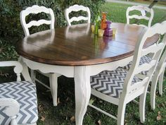 LoveLeigh Again: French Country table re-do...with a bit of Chevron Fabric...