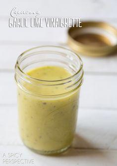 Creamy Garlic Lime Vinaigrette #dressing #salad #spring