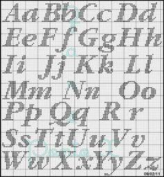 Crochet Alphabet, Cross Stitch Alphabet Patterns, Cross Stitch Letters, Cross Stitch Designs, Stitch Patterns, Cross Stitching, Cross Stitch Embroidery, Abc Chart, Fantasy Cross Stitch