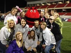 Omega Phi Alpha -Rho Chapter sisters and Big Red at WKU's Relay for Life!