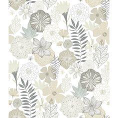 Perennial Blooms Peel & Stick Wallpaper - Beige / Sample