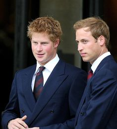 Double Duty. Prince Harry and Prince William - The royal brothers greet guests as they arrive for the Service of Thanksgiving for the life of Diana in London on Aug. 31, 2007.