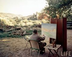 Colour photograph of Winston Churchill painting, France, 1948