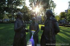 Marquis de Lafayette, Alexander Hamilton, and George Washington in the Green in Morristown, New Jersey. This group of statues is called The Alliance, and it represents the moment when Lafayette told Washington and Hamilton that the French were coming...