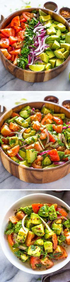 The One Food Cholesterol Cure - Easy Tomato Avocado Salad The One Food Cholesterol Cure: reveals one single ingredient responsible for all cholesterol plaque buildup in your arteries. And how to completely eliminate it without medications. Easy Salads, Healthy Salads, Healthy Eating, Healthy Food, Avocado Tomato Salad, Avocado Toast, Avocado Chicken, Avocado Recipes, Salad Recipes