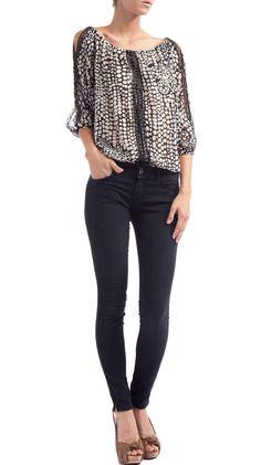 Lace Trim Dolman Top, Black/White.