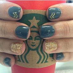 Nails. Teal and gold with an arrow or two ... They look good on my Starbucks Nails by Brandi Nail Design, Nail Art, Nail Salon, Irvine, Newport Beach