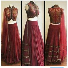 With no stomach showing though Choli (enge Bluse), Lehenga (Hüftrock), Dupatta (Schal) -> Rahjani, Adel, Reich Indian Wedding Outfits, Indian Outfits, Indian Attire, Indian Wear, Red Lehenga, Lehenga Choli, Anarkali, Lehenga Blouse, Indian Lehenga