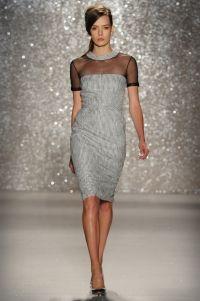 Dress - Black/Ivory laminated tweed dress with black mesh yoke framed with leather and zip back