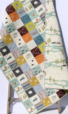 Baby Quilt, Organic, Camp Sur Camping Outdoors Hiking Canoeing, Unisex Boy Girl Blanket, Bears Fox Fish, Modern Forest Woodland Ready to ship! This modern baby quilt was created using Camp Sur by Jay Cyn Designs for Birch Organic Fabrics which is 100% GOTS certified organic cotton.
