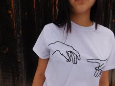 Creation of Adam Hand Embroidered Tee 2019 clothing clothing labels clothing patches clothing wholesale flower clothing fly shirts shirts for ladies shirts sunshine coast style clothing tee shirts clothing Sommer Garten Hochzeits Kleider Diy Embroidery Shirt, Embroidery Fashion, Embroidery Designs, Diy Broderie, Diy Vetement, Painted Clothes, Embroidered Clothes, Mode Inspiration, Diy Clothes