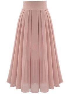 Omela Damen Hohe Taille Chiffonrock Langer Rock a Linien Faltenrock Maxirock Womens Maxi Skirts, Long Maxi Skirts, Summer Skirts, Long Skirt Hijab, Maxi Dresses, Dress Long, Printed Maxi Skirts, Pink Pleated Skirt, Chiffon Skirt