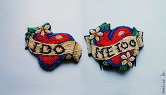 Wedding Pinup style old school tattoo - colorful beaded brooch and hairdress for newlyweds I do, Me too - MADE TO ORDER