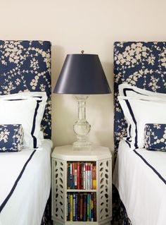 And table! Always love Twin beds w matching upholstered headboards!