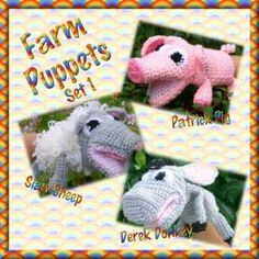"""Farm Puppets.  These puppets are fun to make and even more fun to play with afterwards! They are based on a traditional sock puppets so that your fingers go in the """"nose"""" and your thumb goes in the """"chin"""".There are currently 36 designs in sets of 3, although some are available separately."""