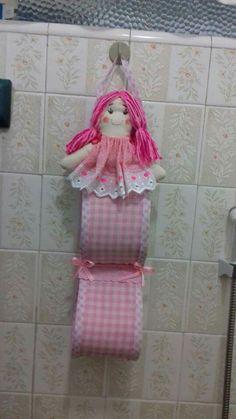 Porta  papel higiênico boneca  Tecido e feltro  Atelier Feltros & Linhas