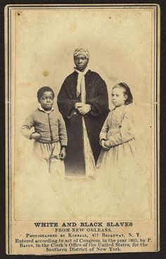 """White and black slaves from New Orleans"", 1863-64. In 1863 and 1864, eight former slaves toured the northern states to raise money for impoverished African-American schools in New Orleans; four children with mixed-race ancestry and pale complexions were deliberately included to evoke sympathy from white northerners."
