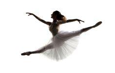 modern style dancer posing on white background