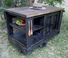 Distressed Black Industrial Warehouse Cart Kitchen Island | eBay