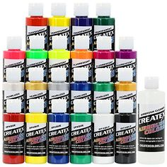 Createx Colors Airbrush Paint  22 Colors and Cleaner  2 oz *** Visit the image link more details.