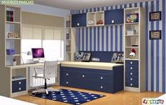 울산•부산인테리어 티디컴퍼니 /study room * 집중력을 높여주는 파란색으로 학생방 인테리어 디자인 : 네이버 블로그 Boys Room Design, Kids Bedroom Designs, Ikea Kids Bedroom, Small Room Interior, Kids Table Chair Set, Teen Room Decor, Home Decor Furniture, Decoration, Baby Room Boys