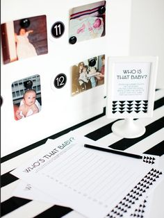 10 Fun Baby Shower Games: Who is That Baby? >> http://www.diynetwork.com/decorating/10-fun-baby-shower-games-and-activites/pictures/index.html?soc=pinterest