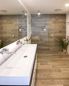 Two faucet Trough sink. Exciting Bathroom Shower Tile Ideas - Page 19 of 74 Two faucet Trough sink. Exciting Bathroom Shower Tile Ideas - Page 19 of 74 Best Bathroom Tiles, Bathroom Tile Designs, Wooden Bathroom, Bathroom Interior Design, Bathroom Flooring, Small Bathroom, Shower Bathroom, Bathroom Ideas, Small Bathtub