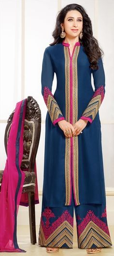 433452 Blue  color family Bollywood Salwar Kameez, Party Wear Salwar Kameez in Faux Georgette fabric with Machine Embroidery, Resham, Thread, Zari work .