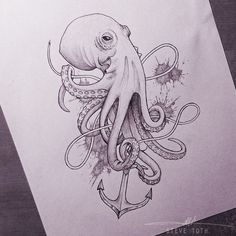 Octopus Tattoos Anchor Drawing Octopus Tattoo Sketch Octopus Sketch ...