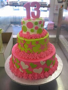 3 tier birthday cake pink lime & white polka dot hearts & stars by Charly's Bakery, via Flickr