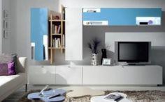 Moderna composición de 300cm con mucha capacidad de almacenaje y los frentes lacados en blanco y azul por 1430€. Las luces LED son opcionales por 333€